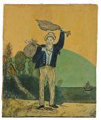 British Folk Art, 20th Century, a sailors farewell, unsigned oil on board, 19cm x 23cm