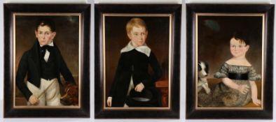 Charming set of three early 19th Century British school family portraits, of three children, the