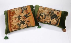 Two cushions of Aubusson tapestry, of floral design set within green cotton velvet,43cm x 39cm