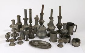Collection of pewter, to include candlesticks, castor, dishes, jugs, pots, salts, (23)