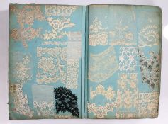 Victorian lace collectors folio, the large book made up with approximately seventy-eight pages