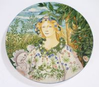 Fratelli Cantagalli polychrome majolica charger by L Paoletti, 1882, the central field with
