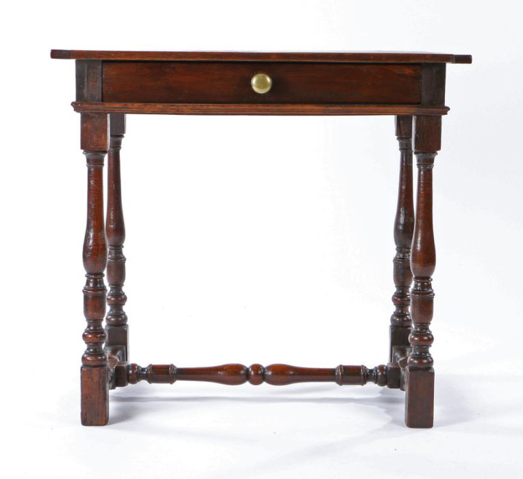 William & Mary oak side table, circa 1690 and later, having a twin-boarded end-cleated top, a
