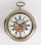 George Graham, London, a silver cased verge pocket watch, the fusee movement signed Geo. Graham