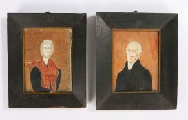 Pair of 19th century naïve pictures, circa 1836, of an austere lady and gentleman in portrait, the