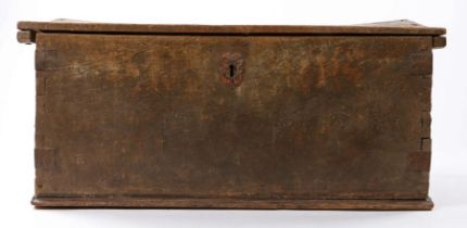 16th Century Spanish chestnut boarded chest, with a hinged lid, with dovetail construction and