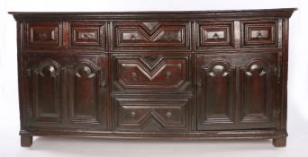 Charles II / William & Mary Oak & Elm Cupboard Dresser, English, circa 1670 – 1690, the plank top