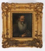 French 19th Century school, portrait of a Monk holding the crucifix and rosary beads, unsigned oil