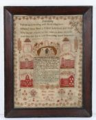 William IV 19th Century sampler, titled Friendship with a poem above a scene depicting an elderly