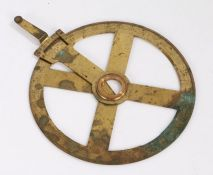Benjamin Cole, an 18th Century gilt brassvernier protractor, the edge with etched numerals and