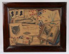 Fine example of a Trompe L'oeil, English School, 19th Century Trompe l'oeil watercolour picture,
