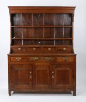 George I oak dresser and rack, North Wales circa 1760, the rack with a cavetto cornice and end