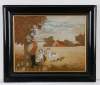 Late 19th Century silk work and watercolour, a Huntsman and his two gun dogs, one of the dogs