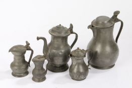 Pewter, to include a 19th Century Dutch jug, two small lidded flagons, a lidded jug and a lidded