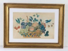 19th Century Theorem Stencil, possibly American, Still life of fruits and berries, 39.5cm x 25.5cm