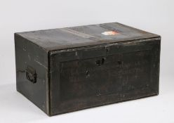 19th Century black painted tin Marriage box, the rectangular box with a drop front and the text
