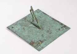18th Century bronze sundial, Thomas Booth Hull, with a central sun with human features signed