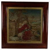 19th Century woolwork picture, biblical scene depicting a bearded man embracing a young lady as they
