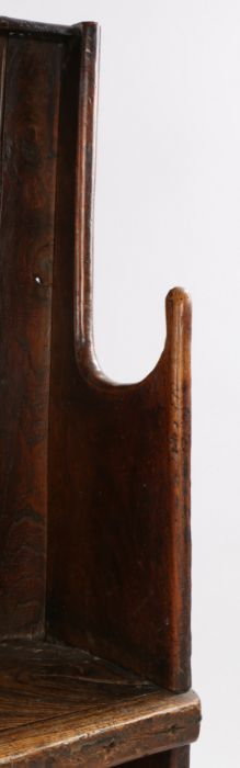 Charming George III boarded elm bow back settle, West Country, circa 1800, of small proportions, the - Image 9 of 12