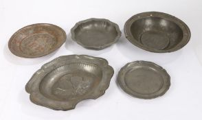 Pewter, to include an 18th Century French pewter dish with fleur de lis mark, a French Barbers bowl,