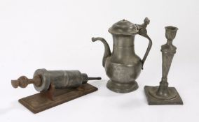 Pewter, to include a 19th Century coffee pot, a single candlestick and a 19th Century enema syringe,