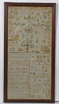 18th Century band type sampler, the wide sampler with a pair of angels holding a panel with initials