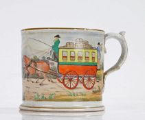 19th Century Staffordshire mug, polychrome decorated with a continuous picture of a stagecoach and
