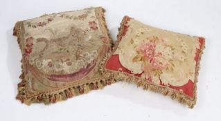 18th Century cushion cover, with a wolf grabbling with deer among foliate swags 46cm x 50cm,