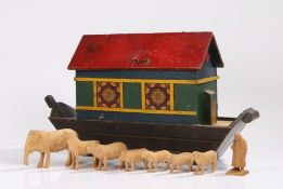 Early 20th Century Noah's Ark, the red painted hinged roof above a polychrome painted ark, with