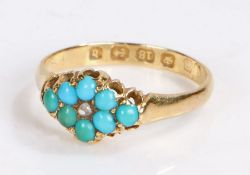 Victorian 18 carat turquoise set ring, assayed for Birmingham 1878, the central rose cut diamond