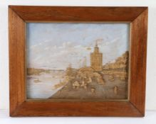 Charming cork diorama, with a tower overlooking a dock and shipping scene, a steam train leaving the