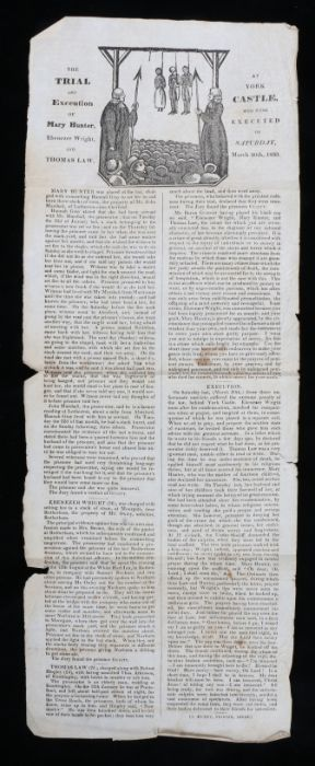 19th Century execution broadside, The Trial and Execution of Mary Hunter, Ebenezer Wright and Thomas