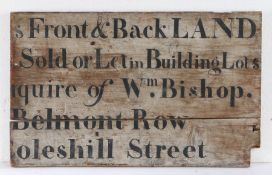 19th Century Land Agents sign, circa 1820, Front & Back LAND Sold or Let in Building Lots enquire of
