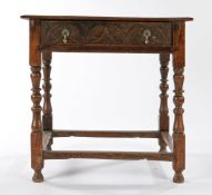 Charles II side table, circa 1670 and later the rectangular top with two planks and charming spliced