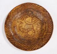 Unusual 18th/19th Century slipware pottery dish, in the manner of the Toft Family, the dished bowl