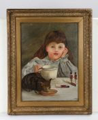 Edwardian Provincial school, P.M. Harding, Young girl and her cat, signed and dated 1908 oil on