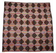 American patchwork quilt, circa 1900's, log cabin design in multi colours, 185cm x 183cm