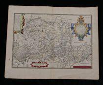 """Abraham Ortelius, coloured engraved map """"WESTPHALIAE TOTIUS, FINI TIMARVMQVE REGIONUM ACCVRATA"""