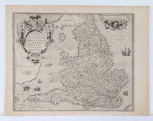 """H. Lhuyd, engraved map, England & Wales, circa 1575, """"Angliae Regni Florentissimi Nova Descriptio,"""