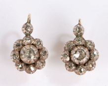 Pair of late 18th Century diamond set earrings, each earring set with ten diamonds forming a