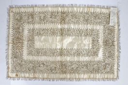 Victorian silk and wirework table centre,embroidered with silvered metal thread on cream silk satin
