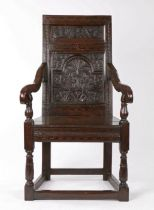 Charles II joined oak and inlaid panel-back open armchair, South-West Yorkshire/East Lancashire,