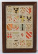 18th Century English armorial watercolour, in sepia and watercolours depicting the armorials of 20