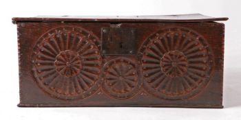 James I 17th Century English oak table box, circa 1620, with chip carved lid above a frieze carved
