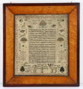18th/19th Century sampler, with a central poem and surround featuring insects, squirrels, cats,