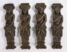 Set of four oak terms, carved as three females and one moustached male above scrolls and paw