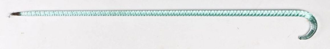 19th Century Nailsea glass walking stick, with a mellow turquoise colour spiral cane and arched