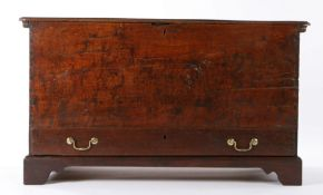 George III boarded oak chest with drawer, circa 1760, of show dove-tailed construction, having a