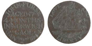 Norwich Gaol interest, a 19th Century copper coin made by a prisoner in the gaol, the name John