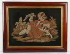 19th Century woolwork picture, of a boy with his spaniel and a bird to his hand, 56cm x 40cm